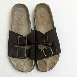 Shoes - Brown Slip On Buckle Sandal size 9